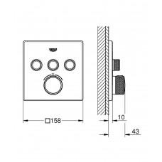 29126000 Grohtherm SmartControl Термостат для встраиваемого монтажа на 3 выхода, скрытая часть 35600000 отдельно