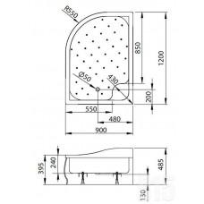 Душевой поддон акриловый Radaway Korfu E 120x90 4E91240-03