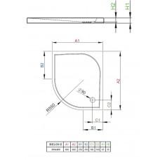 Душевой поддон Radaway Delos E  90х80 (SDE9080-01)