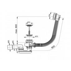 Слив-перелив Viega Simplex 285357 для ванны автомат 560мм
